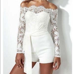 Pants - White Lace Belted Romper